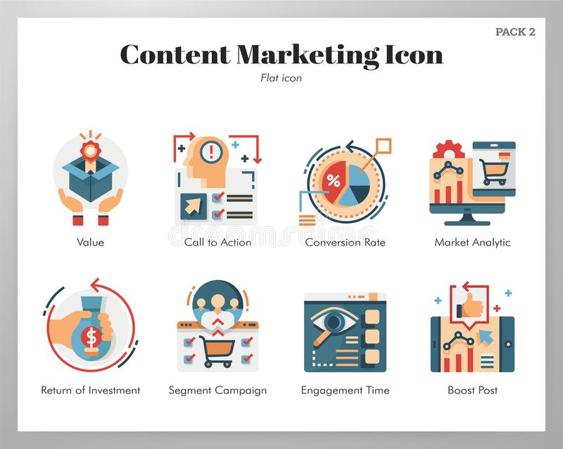 Content marketing icons flat pack stock illustration