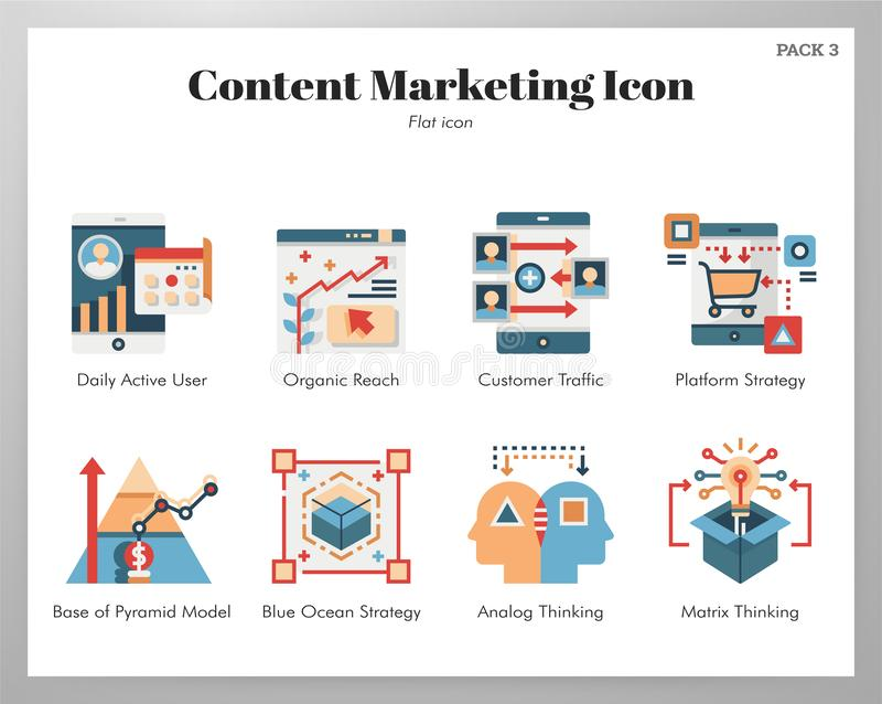 Content marketing icons flat pack royalty free illustration