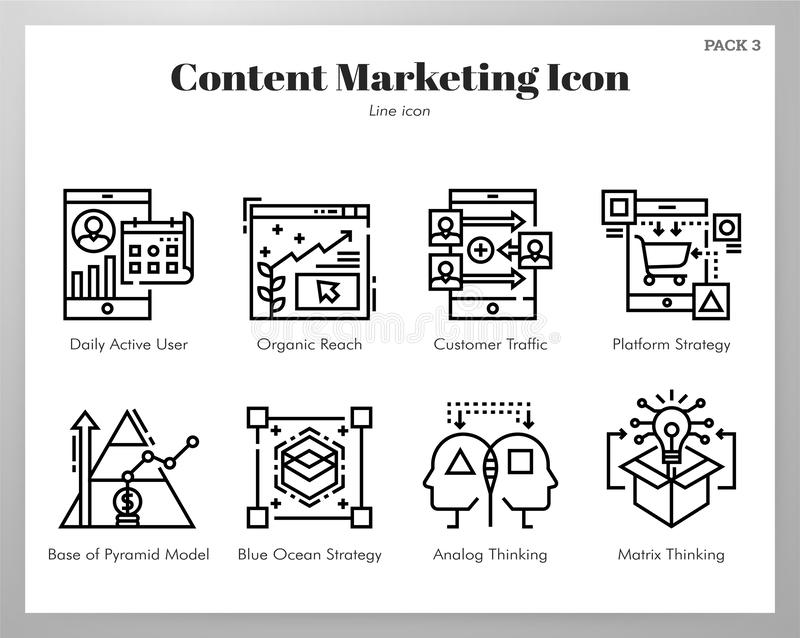 Content marketing icons Line pack stock illustration