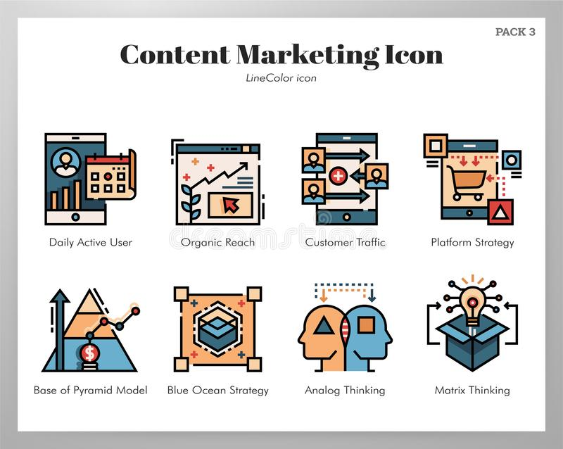 Content marketing icons LineColor pack stock illustration