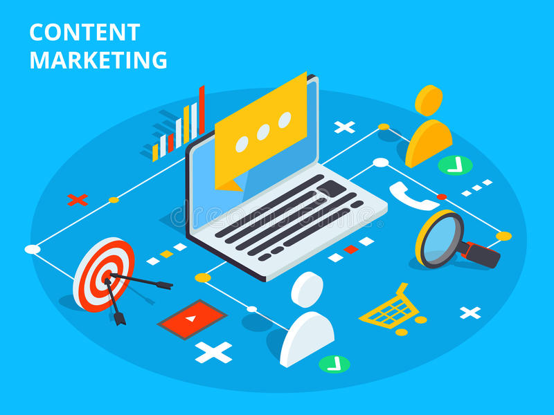 Content marketing isometric vector concept illustration. Business sell strategy and social media customer research. E-commerce or stock illustration