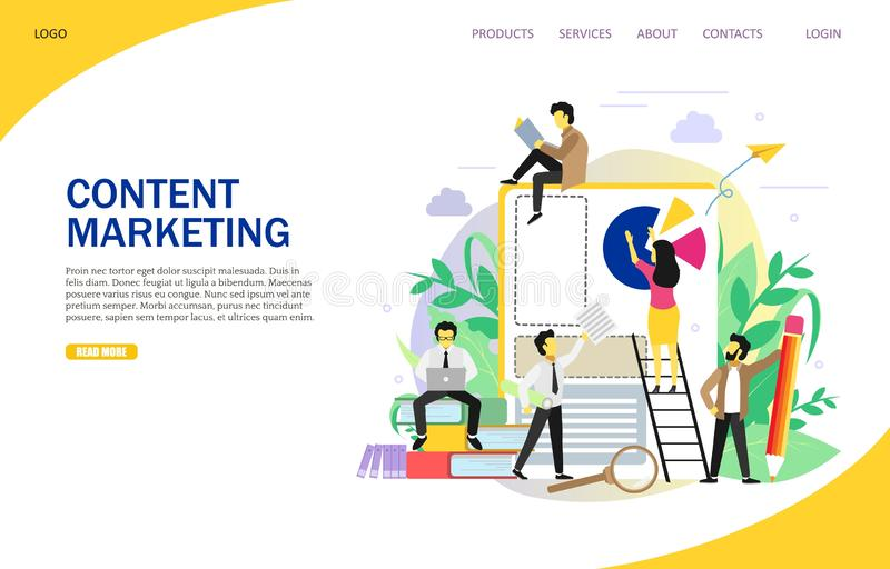 Content marketing landing page website vector template royalty free illustration