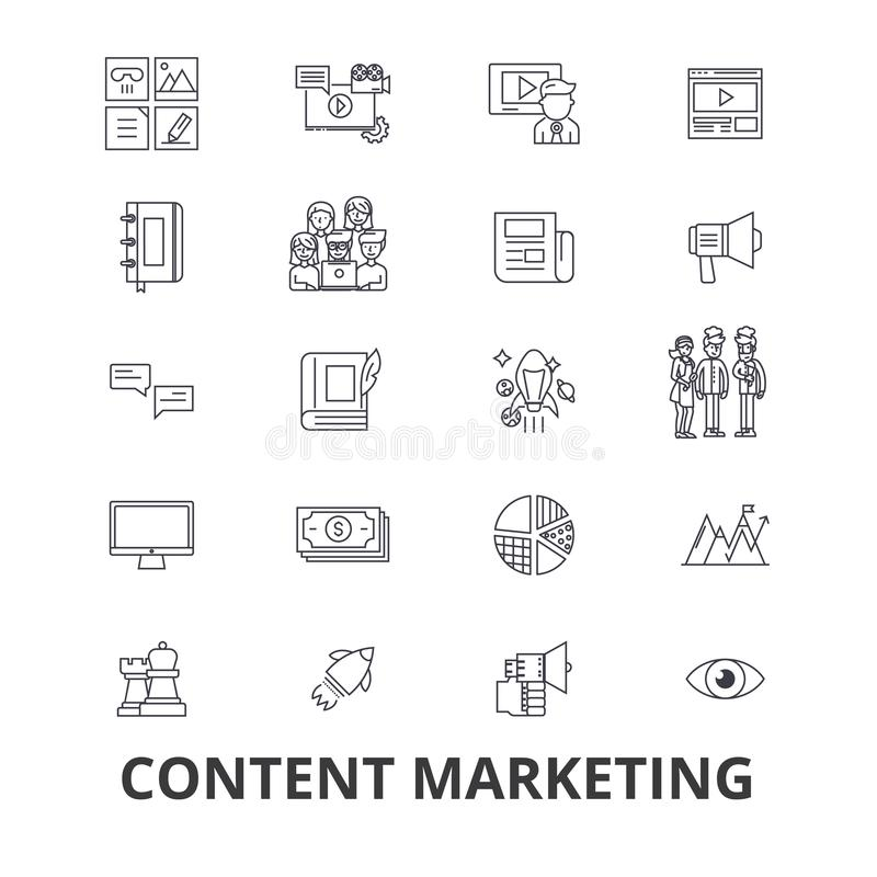 Content marketing, social media, management, online, writing text, information line icons. Editable strokes. Flat design vector illustration
