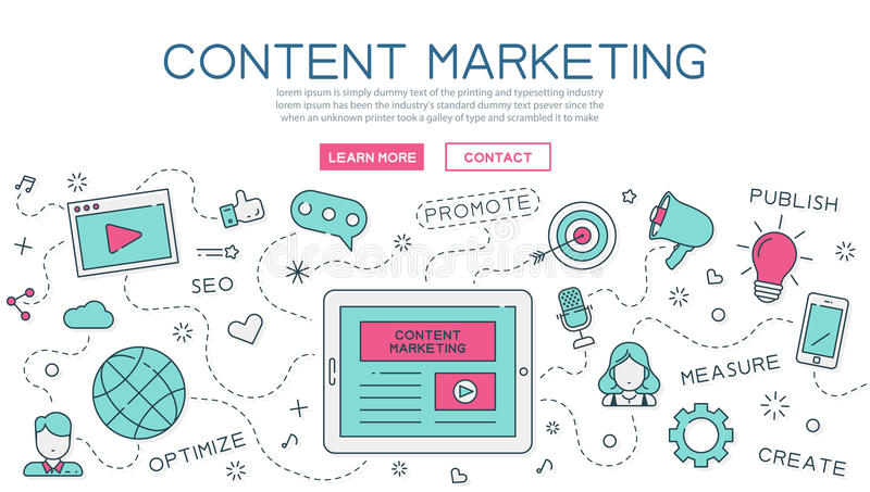 Content, marketing for website banner and landing page. Eps10 vector format vector illustration