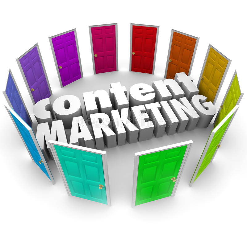 Content Marketing Words Many Doors Channels Formats. Content Marketing 3d words surrounded by many doors to illustrate many channels or formats for selling your stock illustration