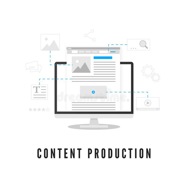 Content production. Blogging or news creating. Website development on PC screen from different elements. Vector illustration stock illustration