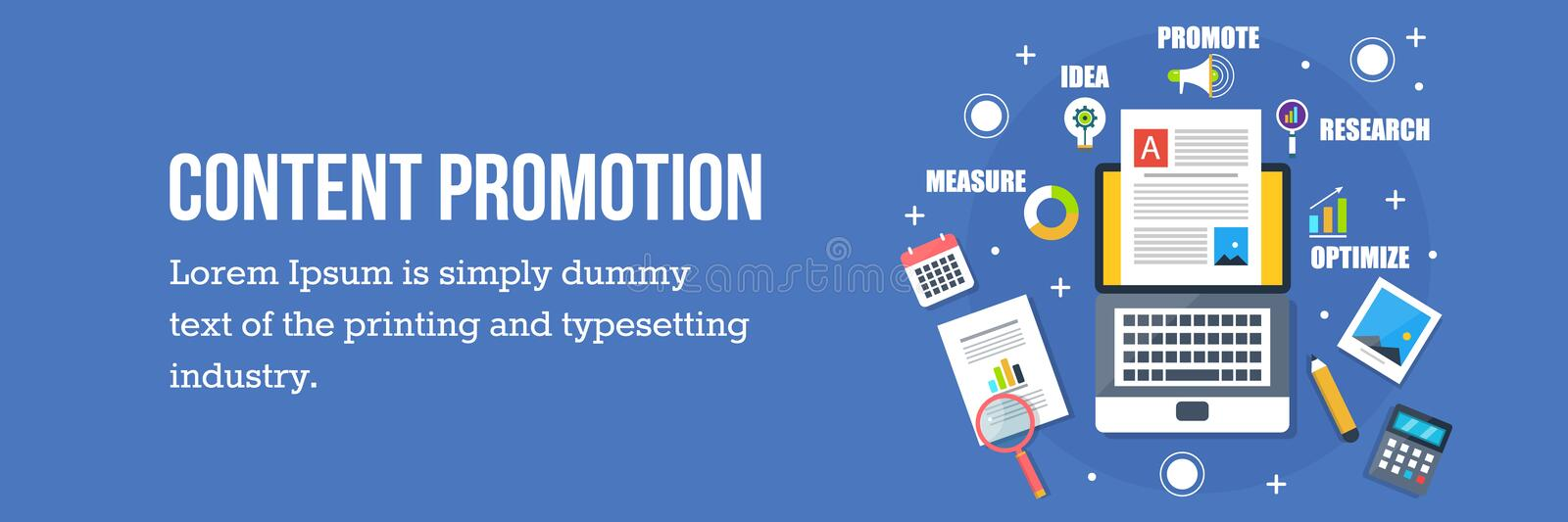 Content promotion concept - flat design vector web banner. Concept of content promotion, research, creation, and optimization with different icons and elements stock illustration