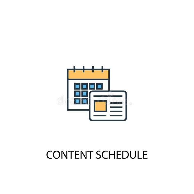 Content schedule concept 2 colored line. Icon. Simple yellow and blue element illustration. content vector illustration