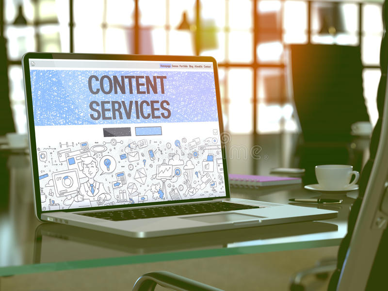 Content Services on Laptop in Modern Workplace Background. 3D. stock image