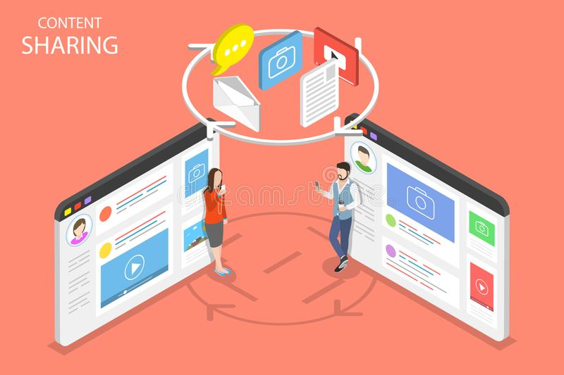 Content sharing flat isometric vector concept. vector illustration