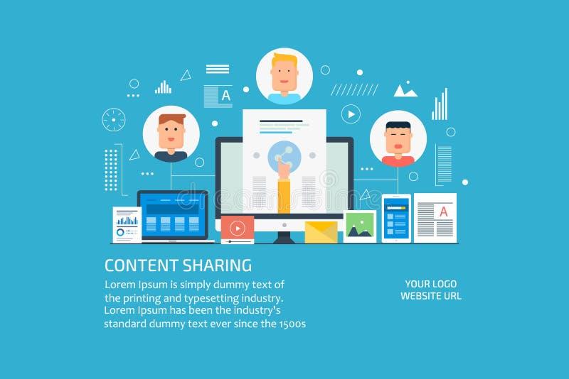 Content sharing, promotion, social media marketing concept. Flat design vector banner. stock illustration