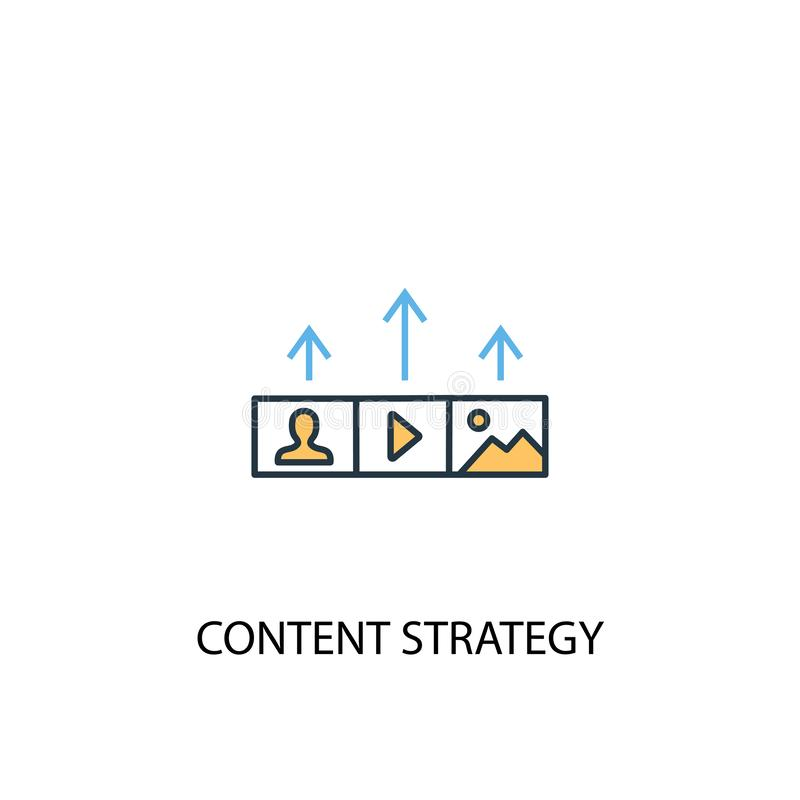 Content strategy concept 2 colored line. Icon. Simple yellow and blue element illustration. Content royalty free illustration