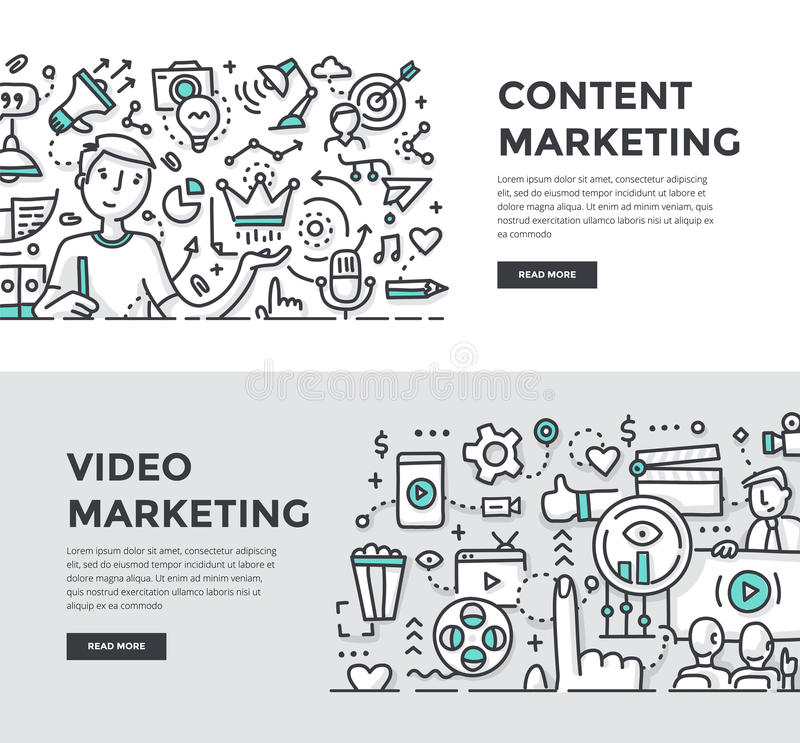 Content & Video Marketing Doodle Banners vector illustration
