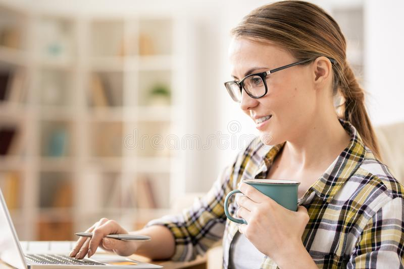 Content woman analyzing files on laptop royalty free stock photography