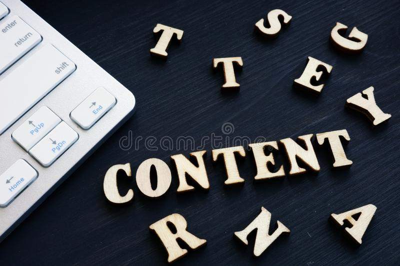 Content from wooden letters. SEO and SMO stock image