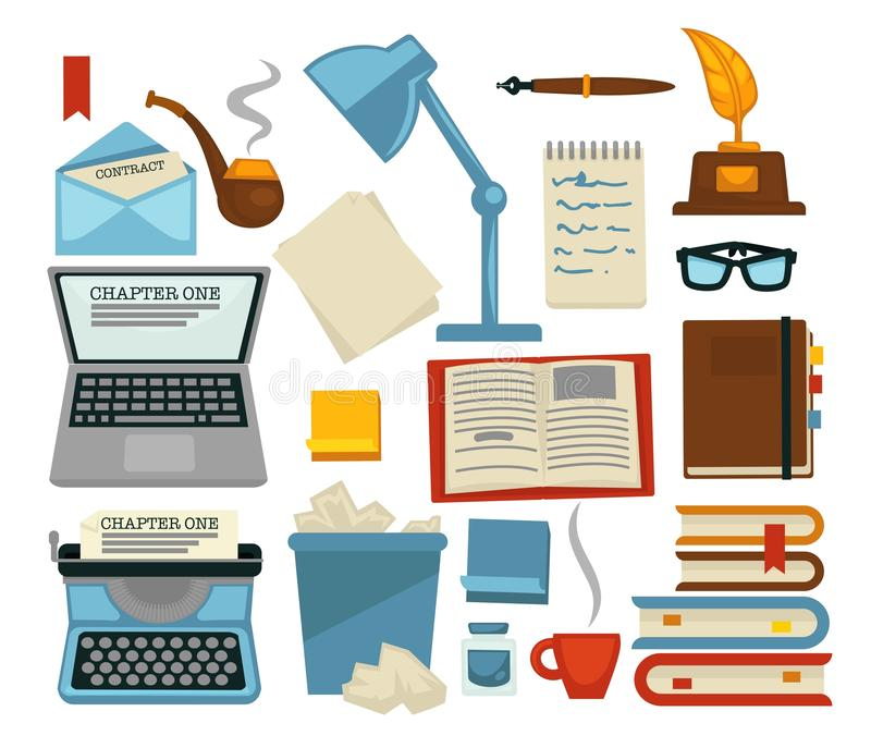 Content writing equipments and objects laptop and lamp. Vector glasses and envelope with letter pipe and typing machine bin with pages and books with bookmarks vector illustration