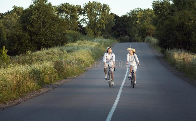 Contented Couple Returning Home After Bike Trip royalty free stock photo