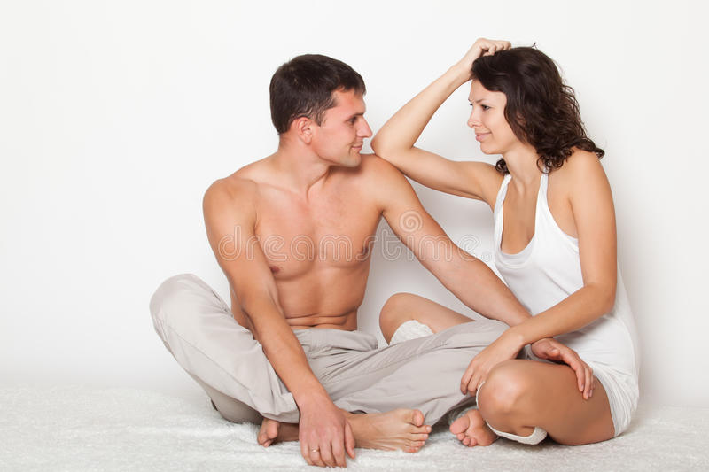 Contented and happy young couple stock photos