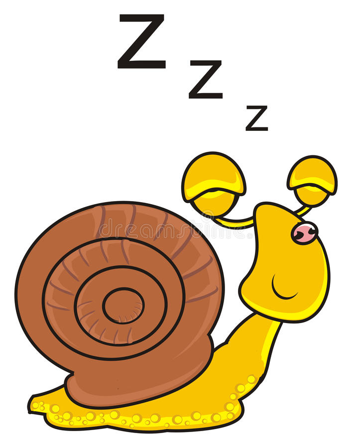 Contentedly sleeping snail stock illustration. Illustration of childhood -  72227820