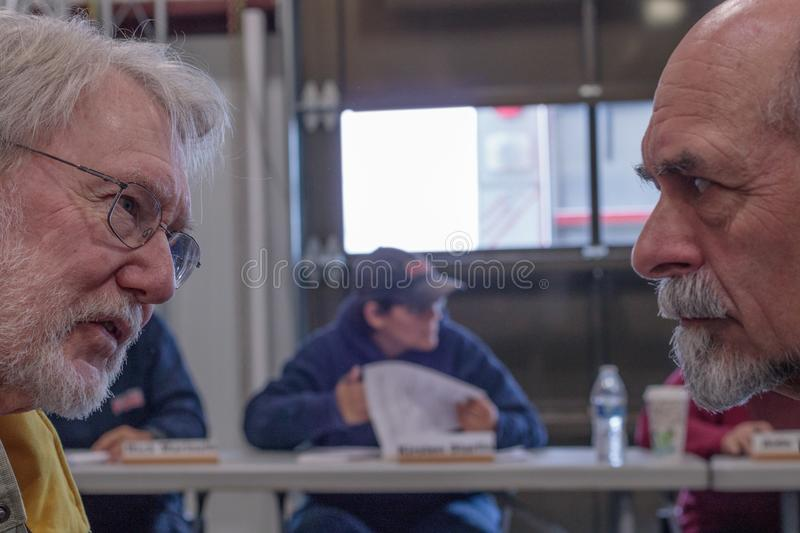 Contentious meeting on 02-13-2018 in small rural town of Julian in San Diego county, Julian Volunteer Fire Department board meetin. Contentious meeting 02-13 royalty free stock photos