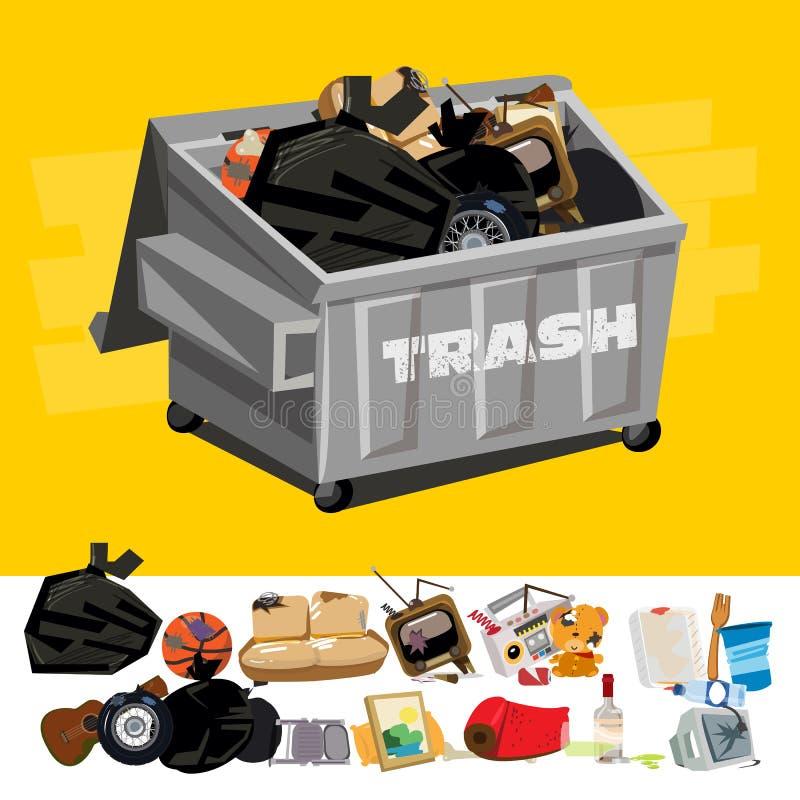 Contentor completamente do lixo com escavação do lixo - vetor ilustração royalty free