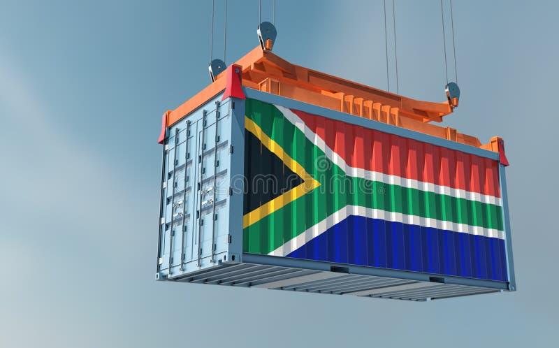 Contentor de carga com a bandeira nacional da África do Sul pendurado num difusor ilustração stock