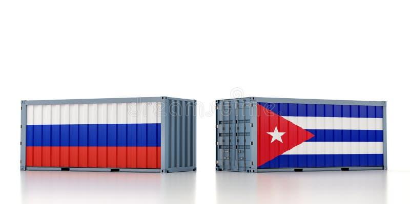 Contentor de carga com pavilhão nacional da Rússia e de Cuba ilustração stock