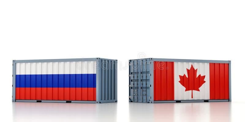 Contentor de carga com pavilhão nacional da Rússia e do Canadá ilustração stock