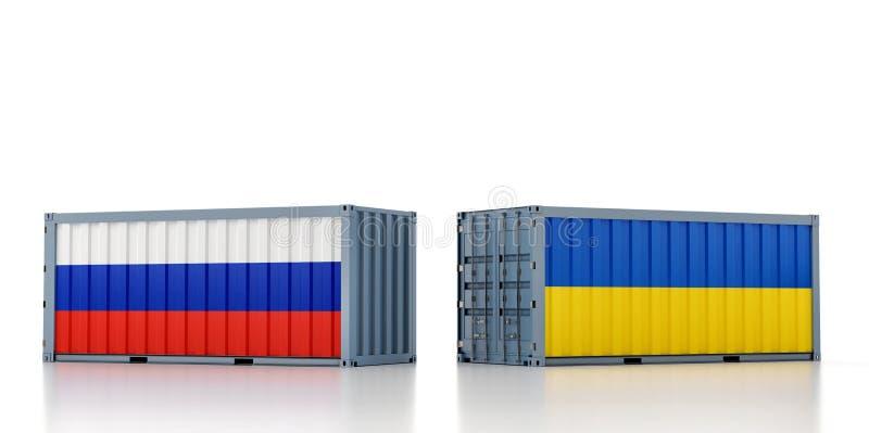 Contentor de carga com pavilhão nacional da Rússia e da Ucrânia ilustração stock