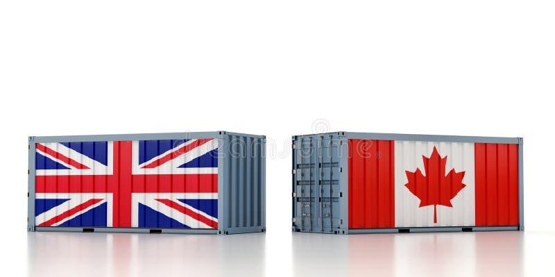 Contentor de carga com pavilhão nacional do Reino Unido e do Canadá ilustração royalty free