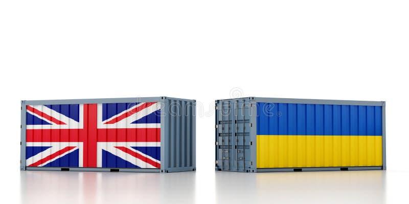 Contentor de mercadorias com pavilhão nacional do Reino Unido e da Ucrânia ilustração do vetor
