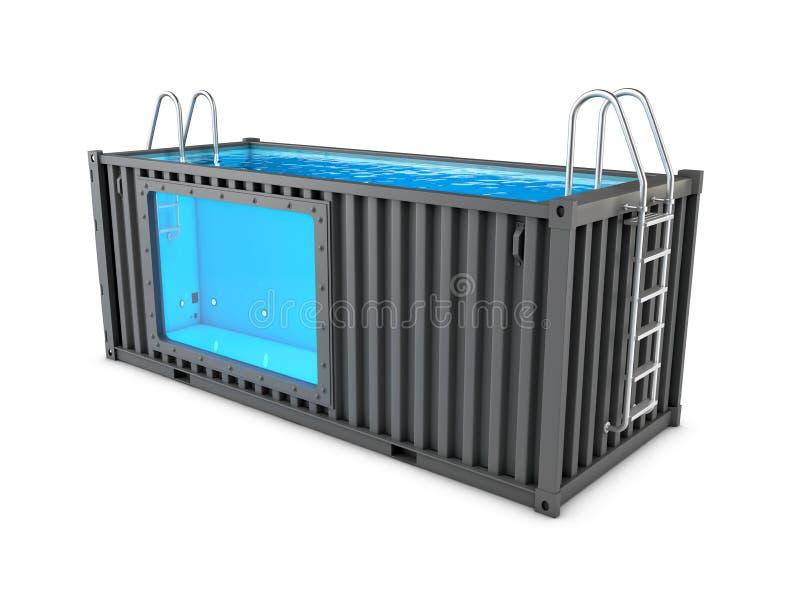 Contentor velho convertido na piscina, ilustração 3d branca isolada ilustração stock