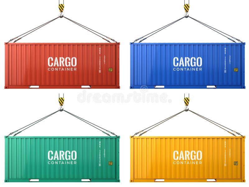Contentores coloridos do frete da carga isolados no fundo branco ilustração do vetor