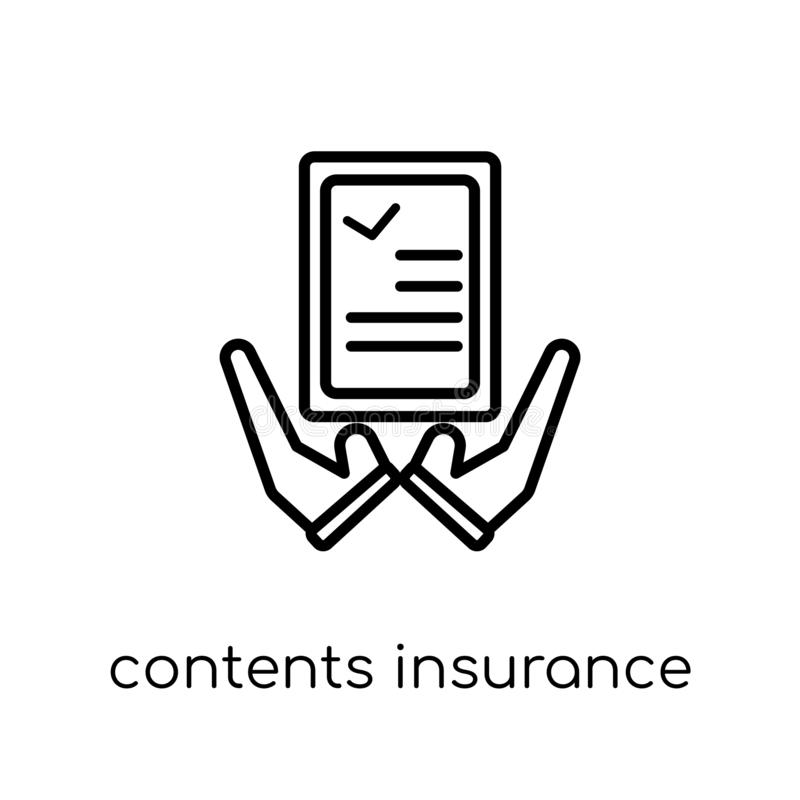 contents insurance icon. Trendy modern flat linear vector contents insurance icon on white background from thin line Contents ins stock illustration