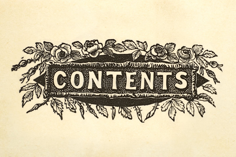 Contents title design. Contents page title design from 100 year old book stock photos