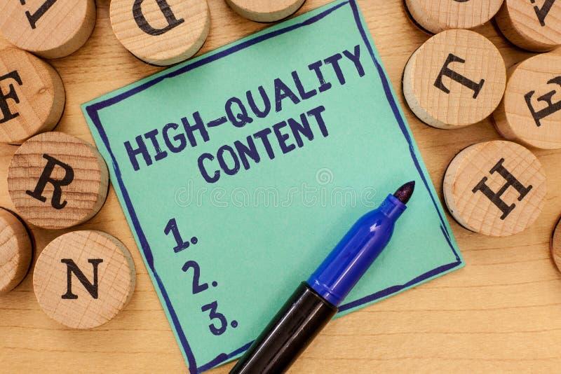 Contenu de haute qualité des textes d'écriture Le site Web de signification de concept est s'engager instructif utile à l'assista image stock