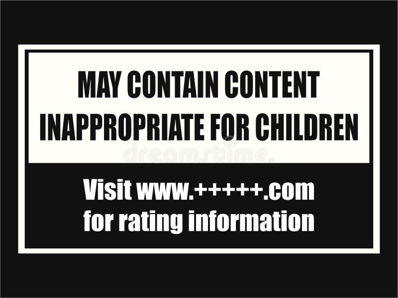 Contenu inadéquat pour le plat de précaution d'enfants illustration libre de droits
