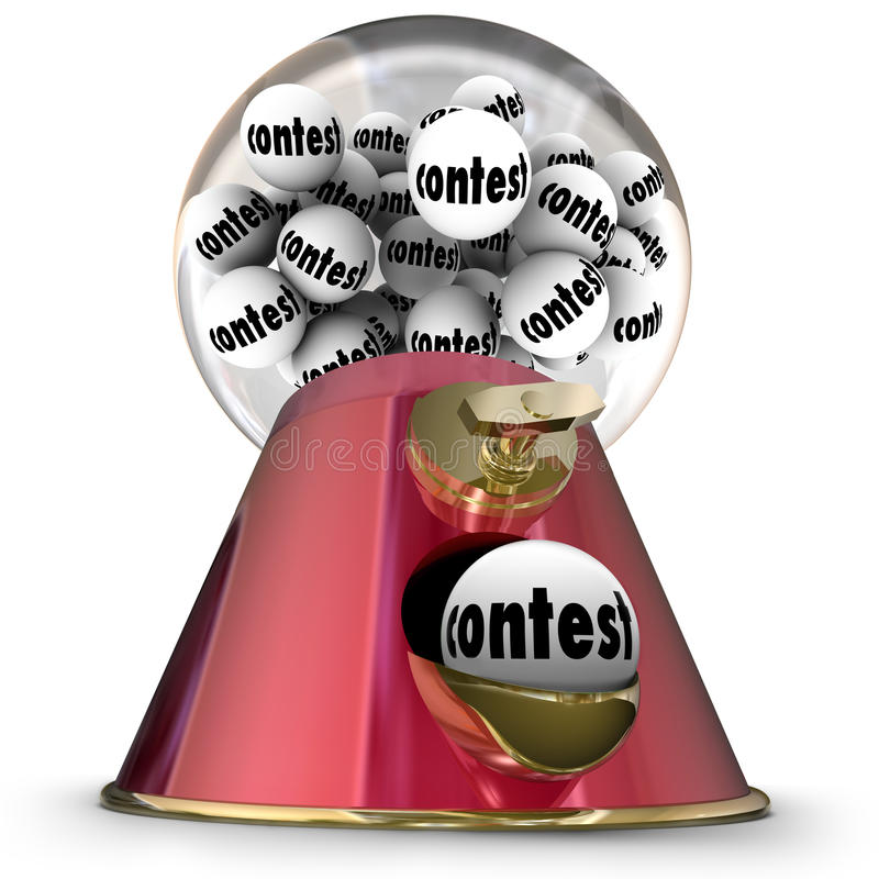 Contest Gumball Machine Random Winner Drawing. Contest word on gumballs in a machine or dispenser to illustrate being the lucky random winner of a prize, jackpot royalty free illustration