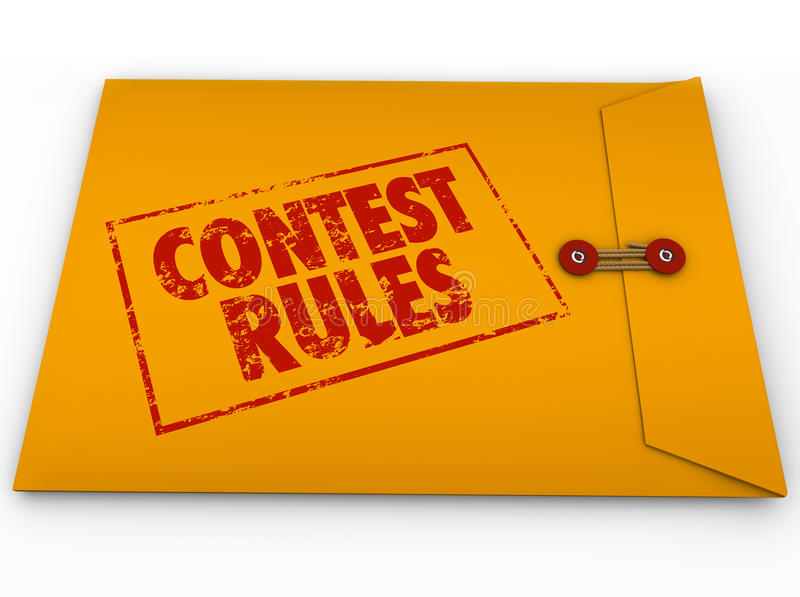 Contest Rules Classified Envelope Terms Conditions Entry Form. Contest Rules words stamped on a yellow envelope to illustrate terms and conditions for a raffle royalty free illustration