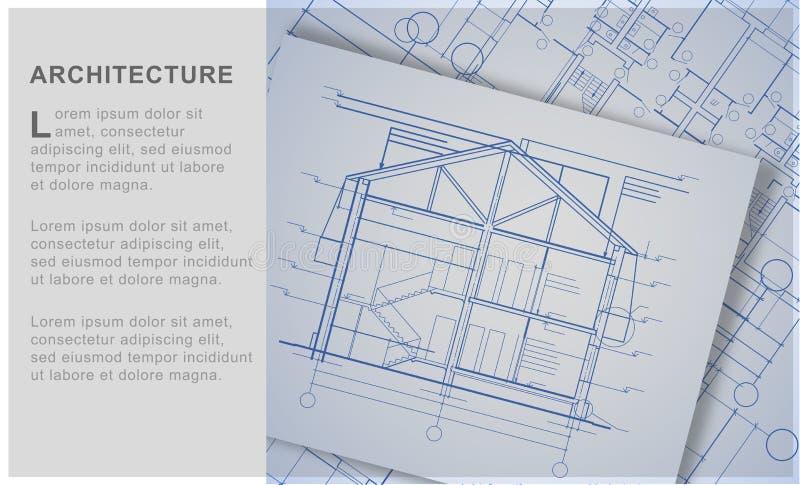 Contesto architettonico,progetti di costruzione di progetti di progettazione, illustrazione vettoriale