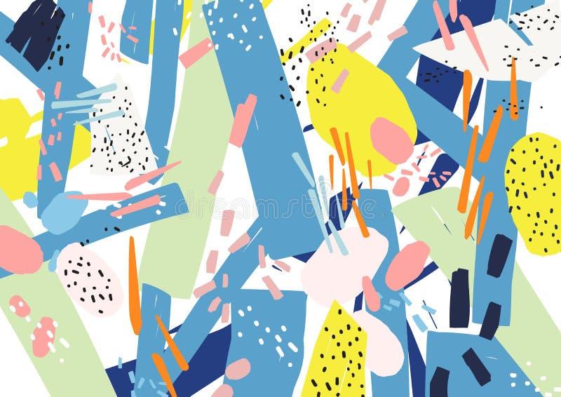 Contesto artistico orizzontale creativo con le forme astratte, le toppe e le macchioline dei colori vivi su fondo bianco royalty illustrazione gratis