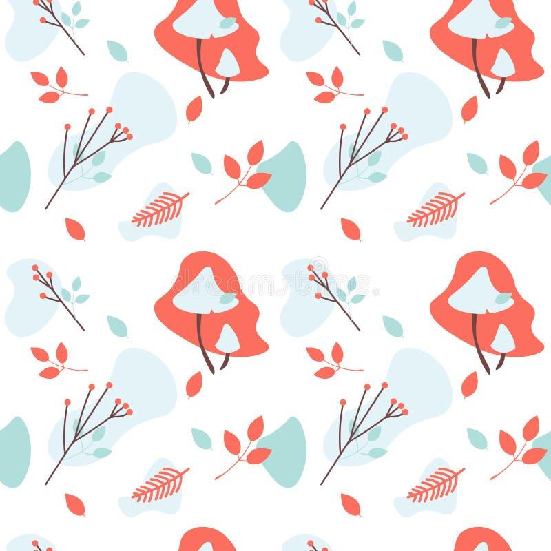 Contesto astratto con gli elementi della natura di stagione di caduta Modello senza cuciture di vettore dei funghi, delle foglie  illustrazione vettoriale