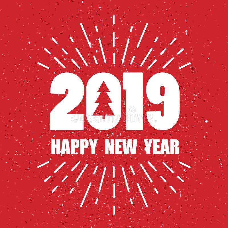Contesto con 2019, albero di abete e testo Nuovo anno felice illustrazione di stock