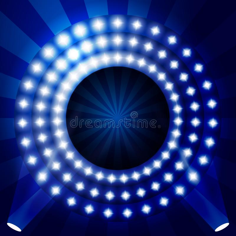 Contesto con i cerchi delle luci - fase illuminata di manifestazione di TV illustrazione vettoriale