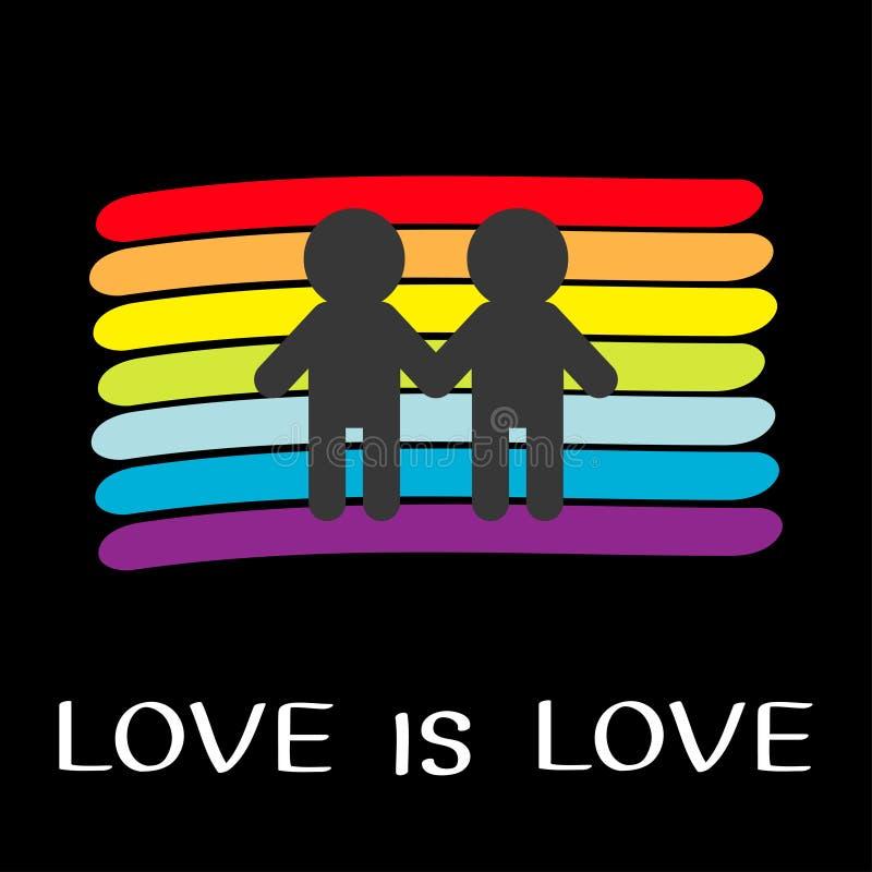 Contesto della bandiera dell'arcobaleno Simbolo gay di LGBT L'amore ? amore Segno di matrimonio dell'uomo di due ragazzi Linea va illustrazione di stock