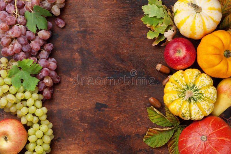 Contesto di autunno con le zucche ed i frutti fotografia stock libera da diritti