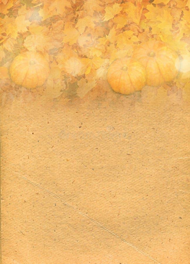 Contesto di carta stilizzato con le zucche in foglie di autunno fotografia stock libera da diritti