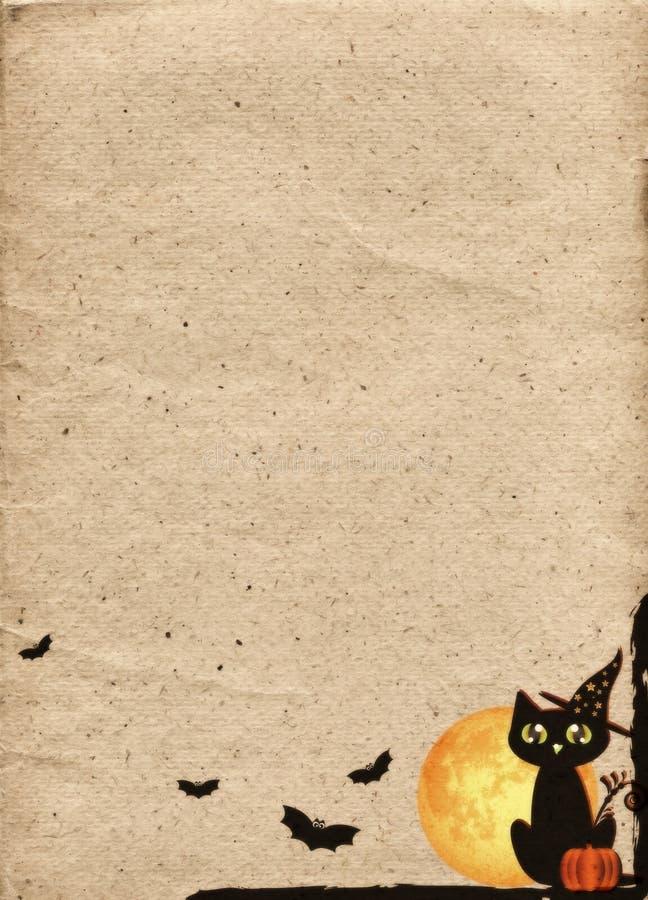 Contesto di carta stilizzato per Halloween Pagina con il gatto nero royalty illustrazione gratis
