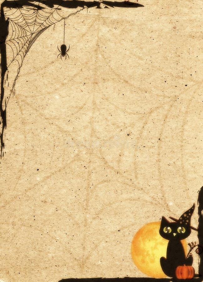 Contesto di carta stilizzato per Halloween Pagina con rete ed il gatto royalty illustrazione gratis
