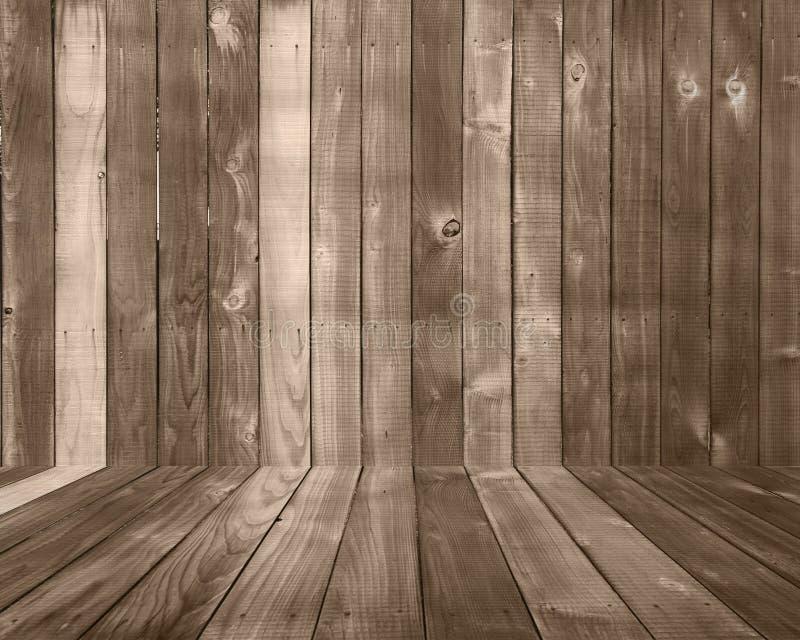 Contesto di legno della priorità bassa della plancia con il pavimento immagine stock